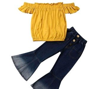 Flared jeans pants outfit top ruffle off shoulder